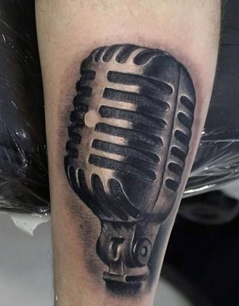 simple designed black ink vintage microphone tattoo on arm. Black Bedroom Furniture Sets. Home Design Ideas