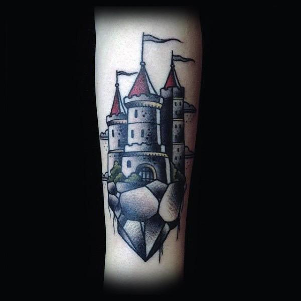 43811268f4077 Simple designed colorful old castle tattoo on arm - Tattooimages.biz