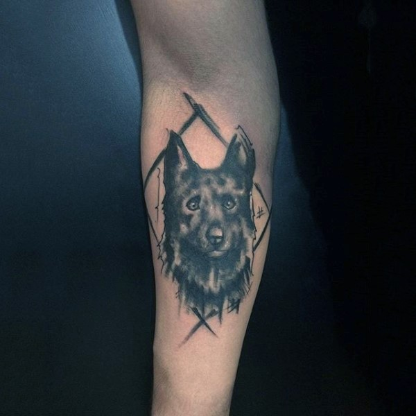Simple designed little funny dog portrait tattoo on arm