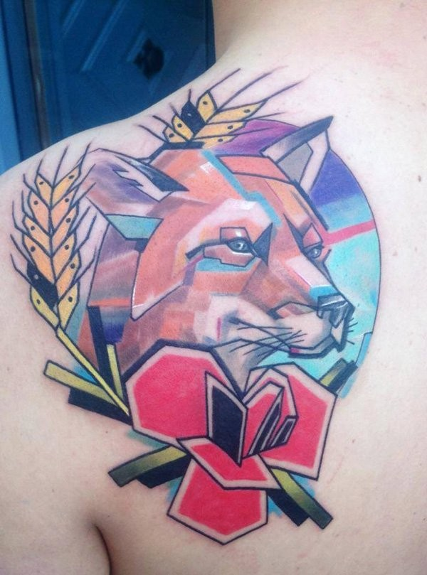 Simple geometrical style colored shoulder tattoo of fox and flower
