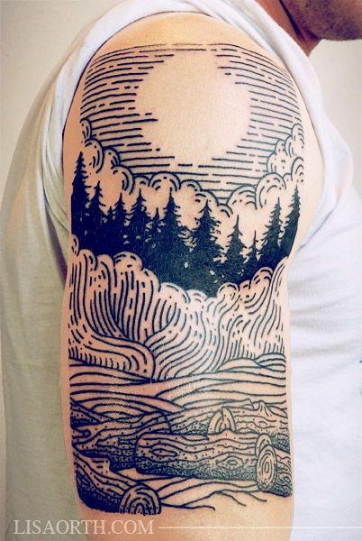 Simple homemade like black ink forest with moon tattoo on shoulder