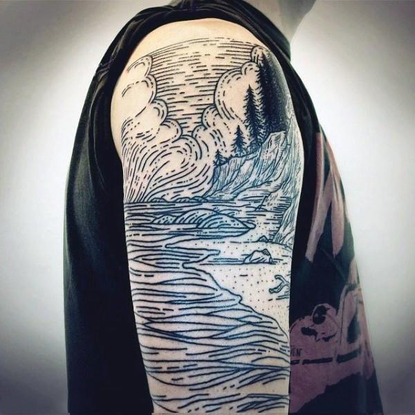 Simple homemade like black ink mountain river tattoo on arm