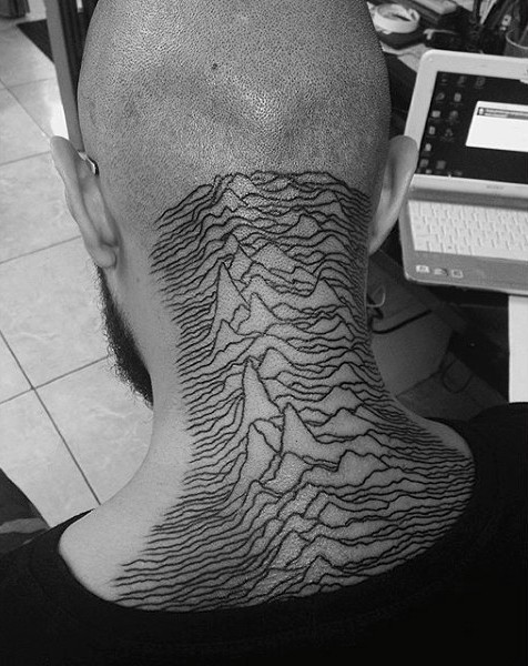 Simple homemade like black ink mountains tattoo on neck
