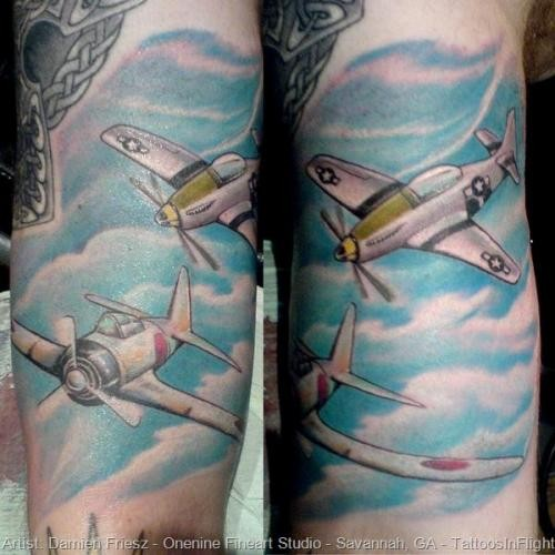 Simple homemade style  arm tattoo of large plane