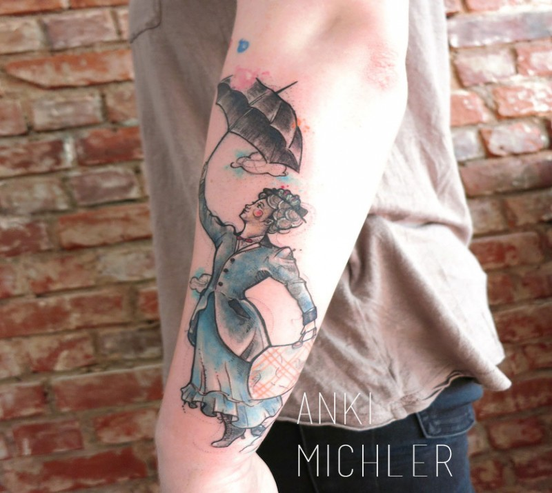 Simple homemade style arm tattoo of woman with umbrella