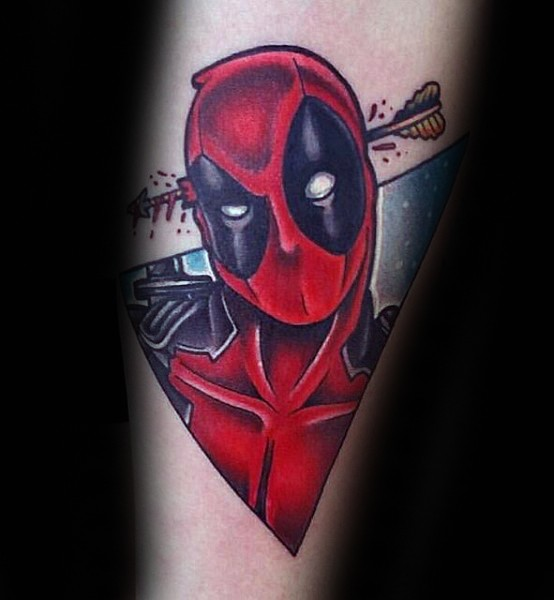 Simple homemade style colored arm tattoo of Deadpool with arrow in head