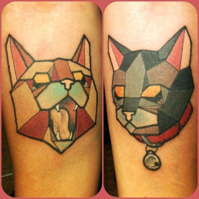 Simple homemade style colored cats tattoo