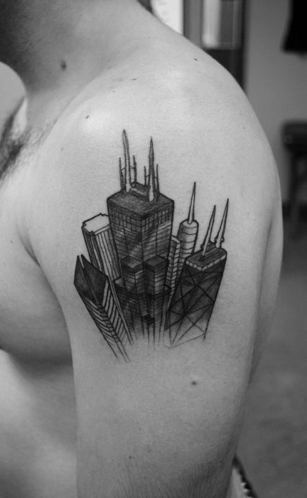 Simple illustrative style black ink shoulder tattoo of modern city sights