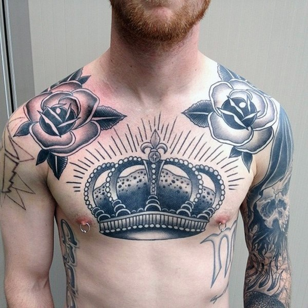 Simple illustrative style crown tattoo on chest with roses