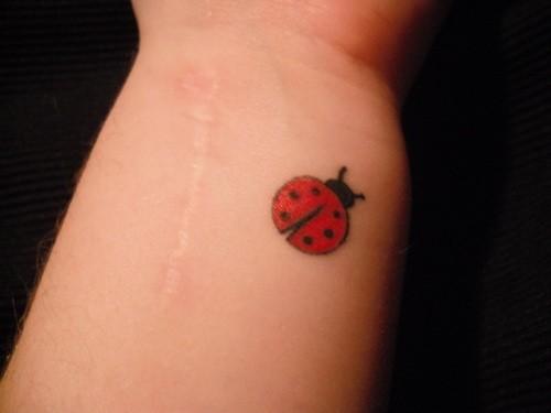 Simple ladybug tattoo on arm for Minimalist house tattoo