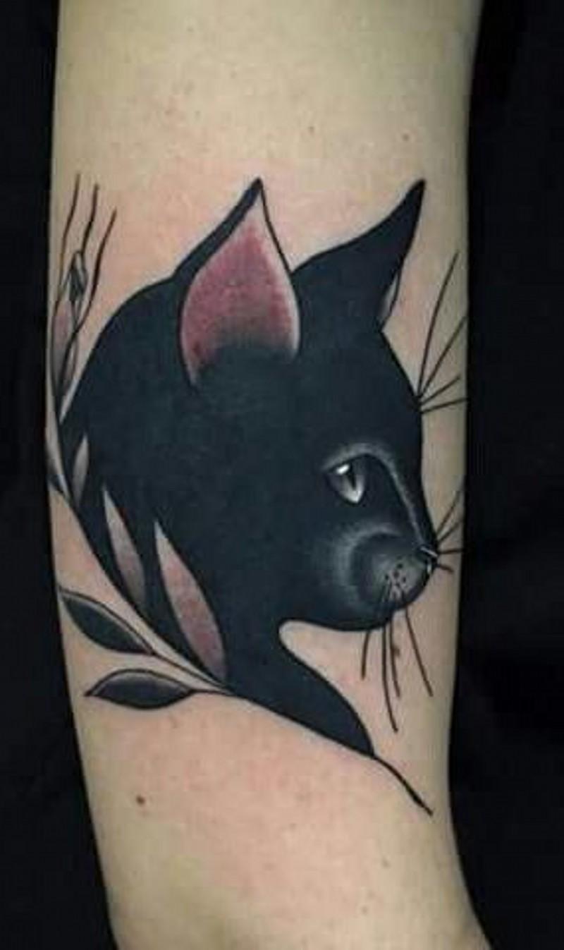 semplice piccolo inchiostro nero gato tatuaggio su braccio