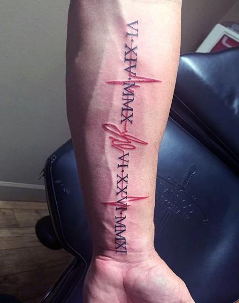 Tatuaje en el antebrazo, latido cardíaco con fecha de números romanos