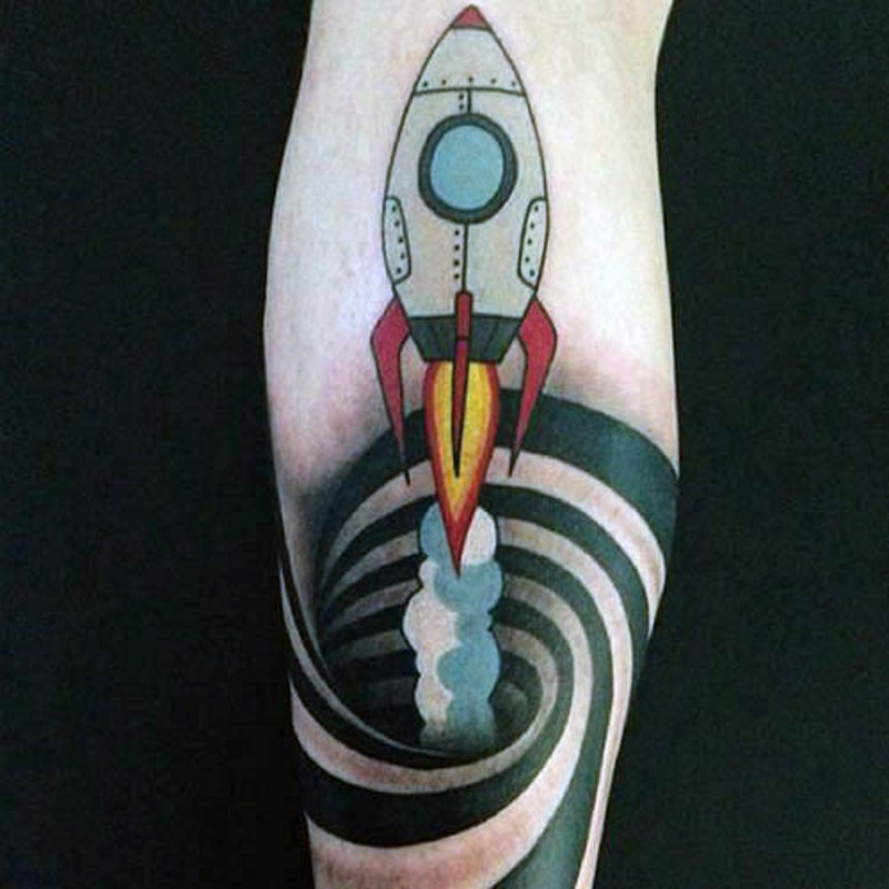 Simple old cartoons like colored flying rocket with hypnotic ornament tattoo on leg