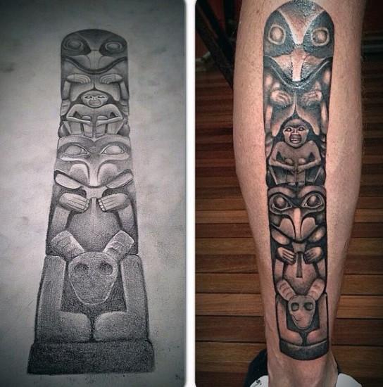 Tatuaje en la pierna, tótem tribal simple, tinta negra