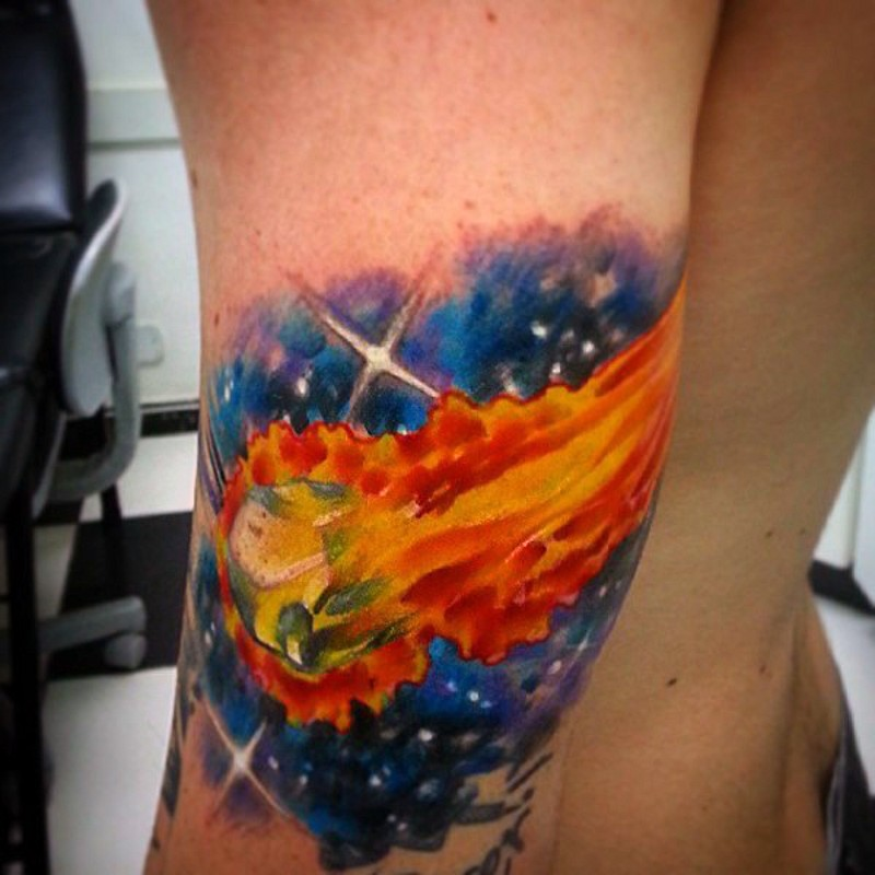Simple Painted And Colored Burning Comet In Space Tattoo