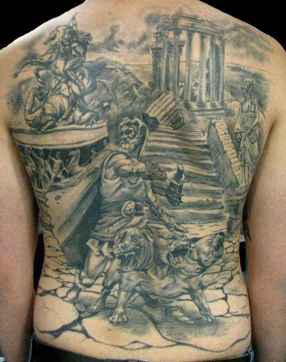 Simple painted black ink antic times themed massive tattoo on whole back area