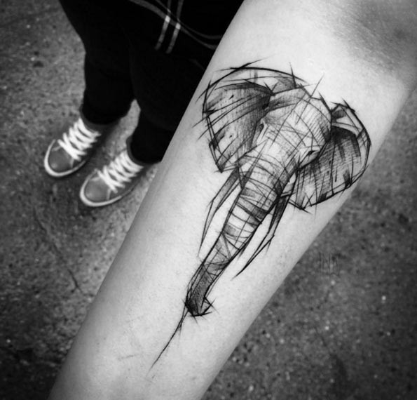 Simple painted black ink forearm tattoo of little elephant sketch