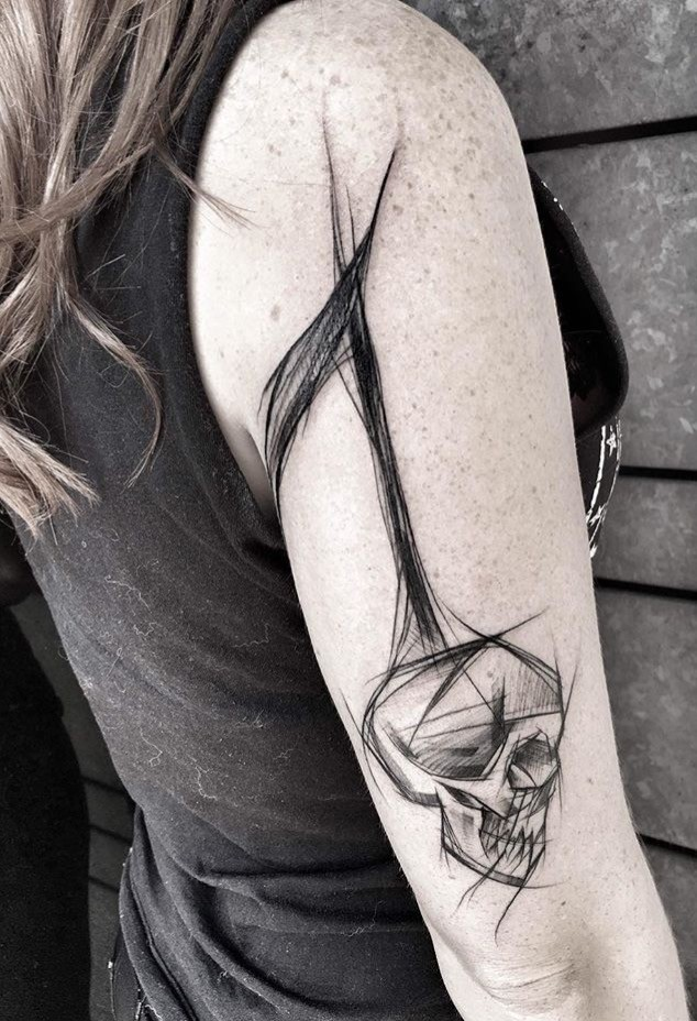 Simple painted by Inez Janiak sketch tattoo of human skull