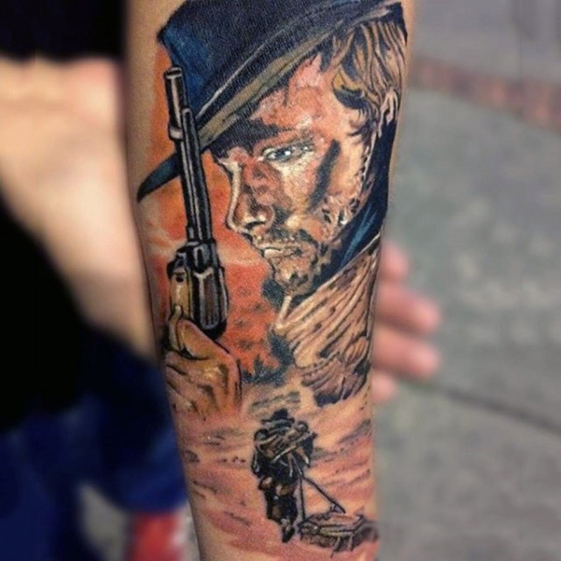 Simple painted colored western style tattoo with cowboy on arm