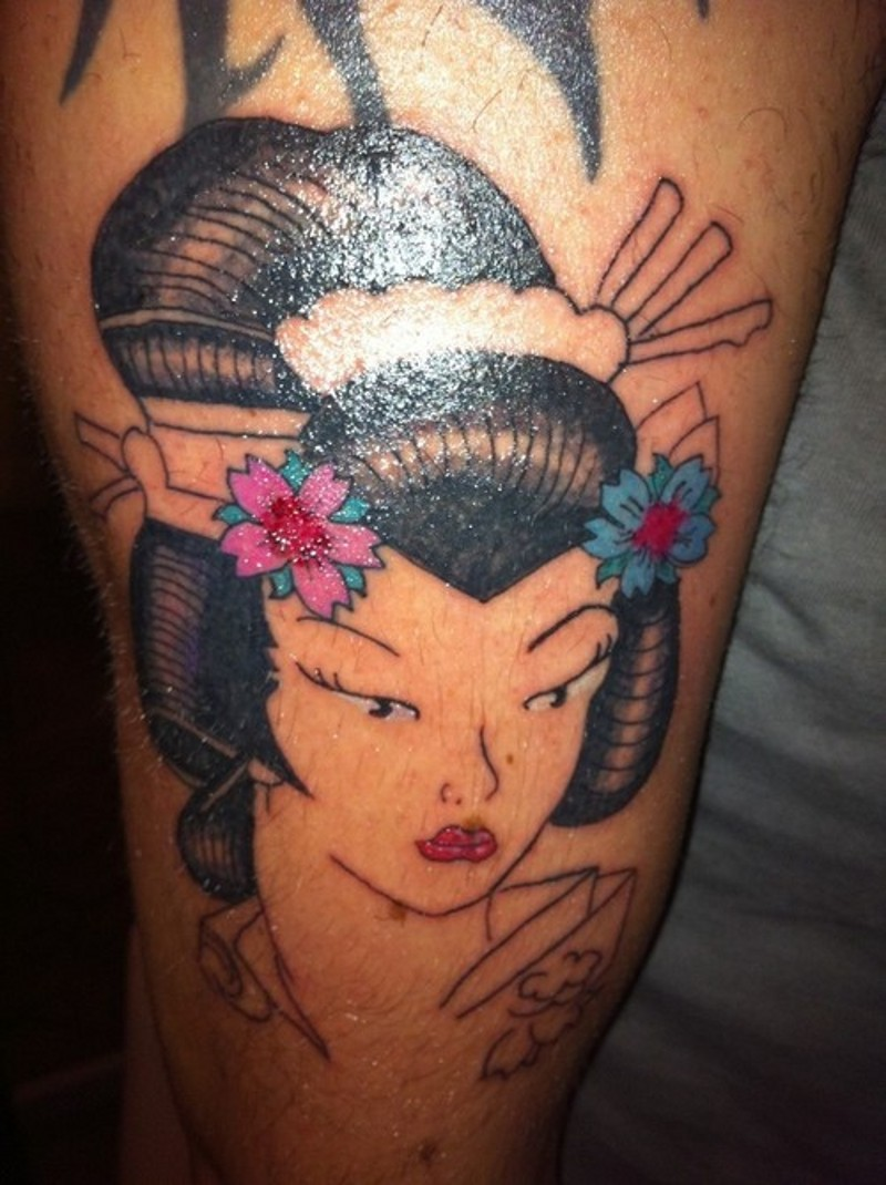 Simple painted homemade colored arm tattoo of geisha portrait