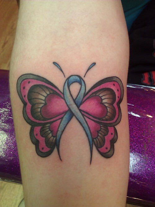 Simple pink butterfly tattoo with cancer sign on half