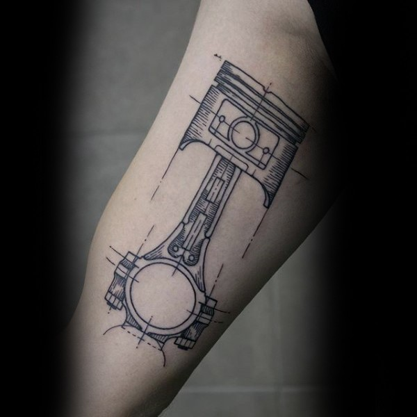 simple sketch style black ink car piston tattoo on arm. Black Bedroom Furniture Sets. Home Design Ideas