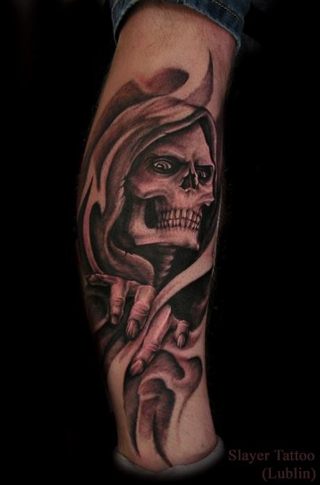 Simple style painted colored live skeleton tattoo on leg
