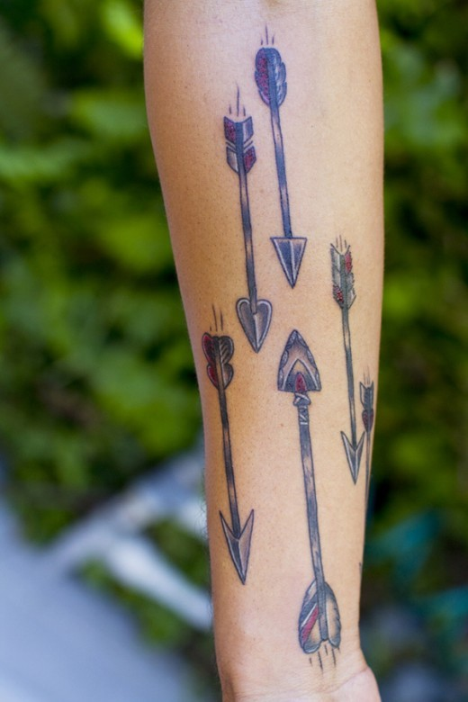 Six different tribal arrow tattoo