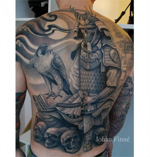 Skeleton in armor japanese samurai and falcon tattoo on back by Johan Finne
