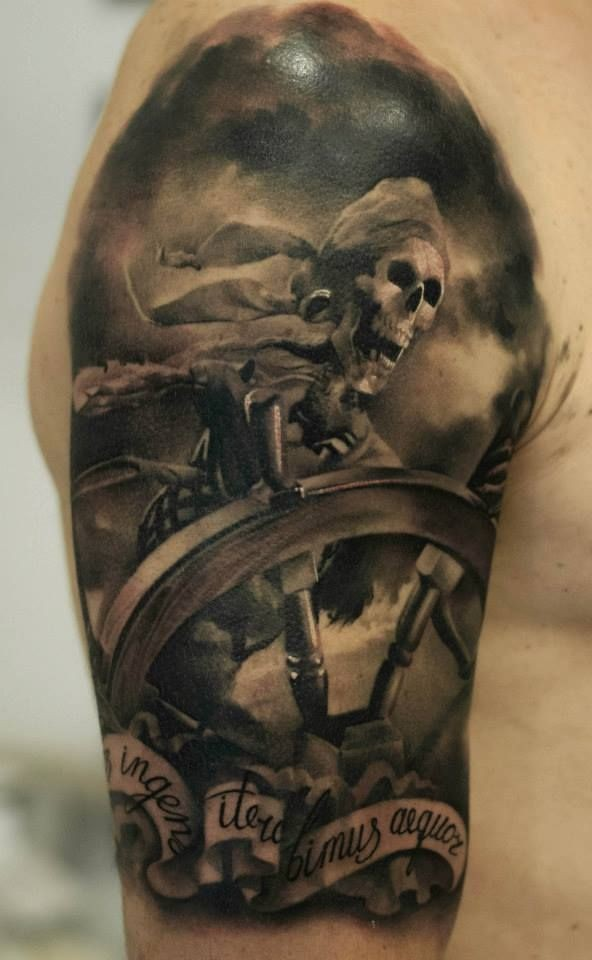 Skeleton pirate tattoo on shoulder