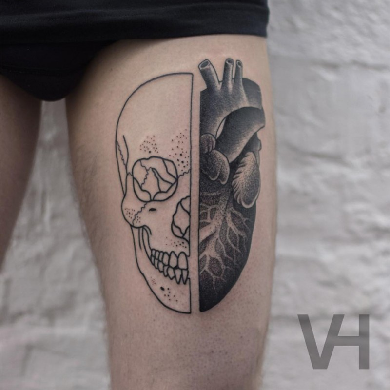 Sketch like painted by Valentin Hirsch tattoo of split human skull with human heart
