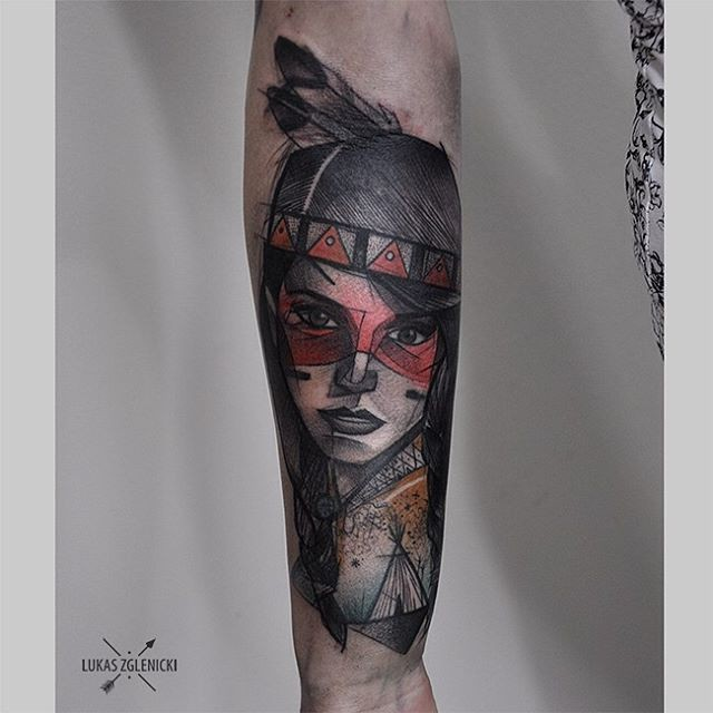Sketch style beautiful looking arm tattoo of Indian woman face
