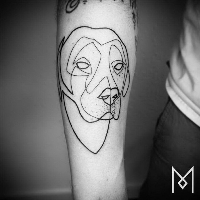 Sketch style black ink arm tattoo of dog head