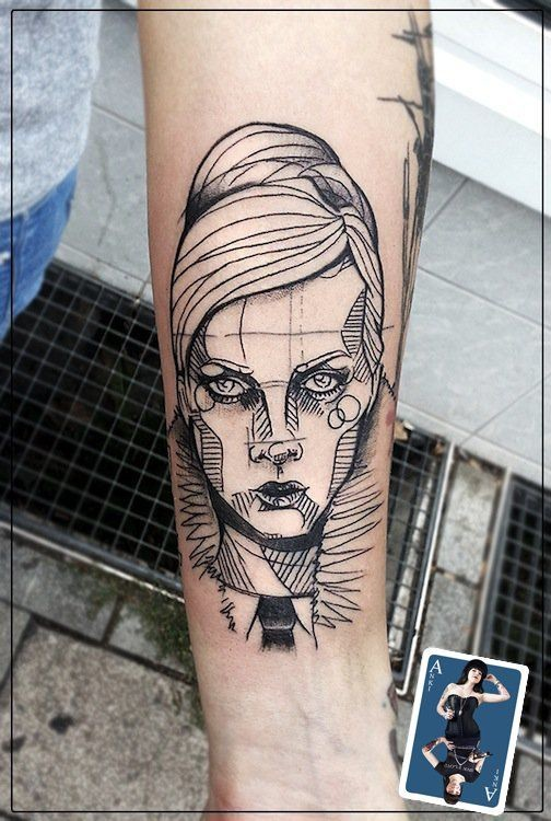 Sketch style black ink arm tattoo of woman face