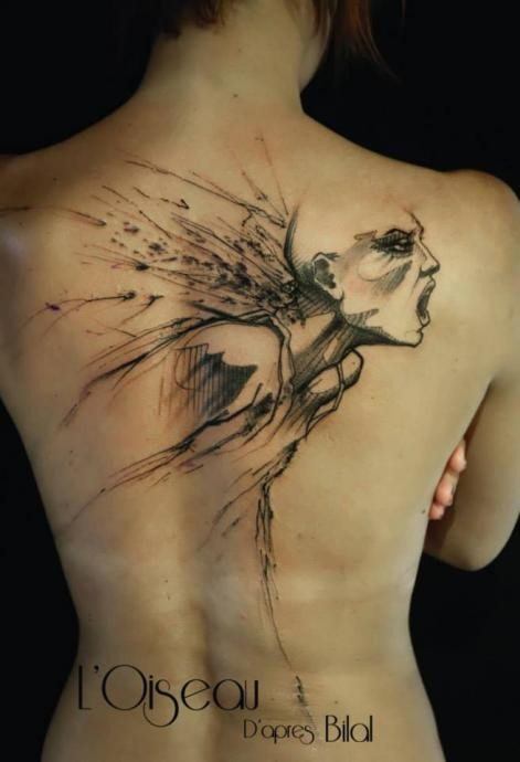 Sketch style black ink back tattoo of scary woman
