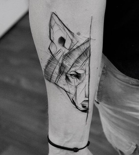 Sketch style black ink forearm tattoo of wolfs head half