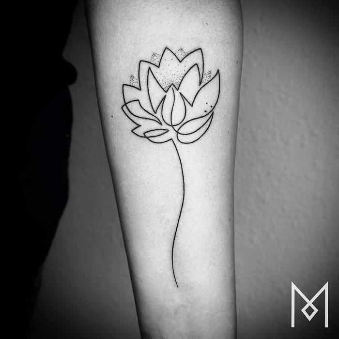 Sketch style black ink forearm tattoo of big flower