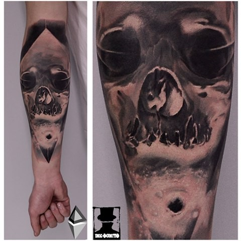 Sketch style black ink forearm tattoo of human skull part