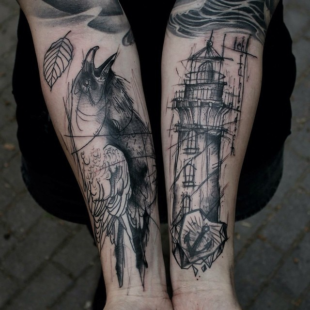 Sketch style black ink forearms tattoo of lighthouse and crow