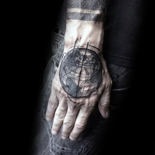 Sketch style black ink hand tattoo of big planet