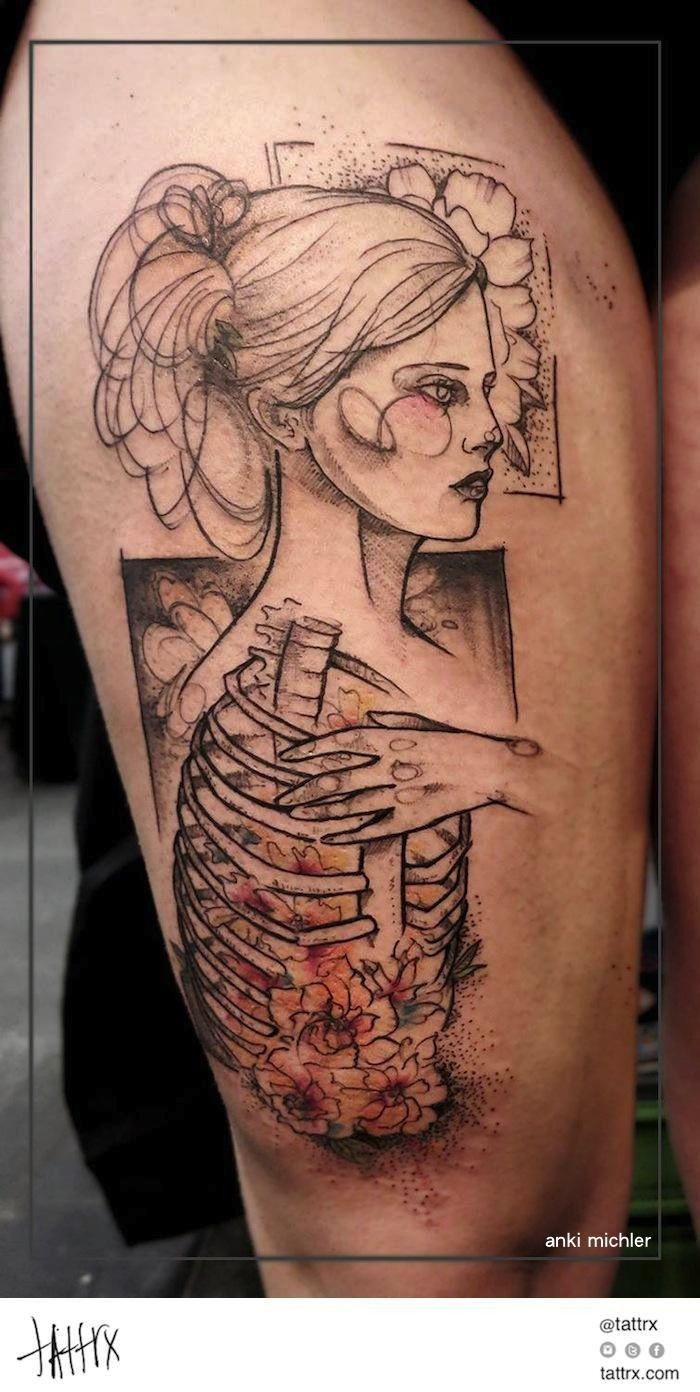 Sketch style black ink thigh tattoo of beautiful woman with human skeleton with flowers