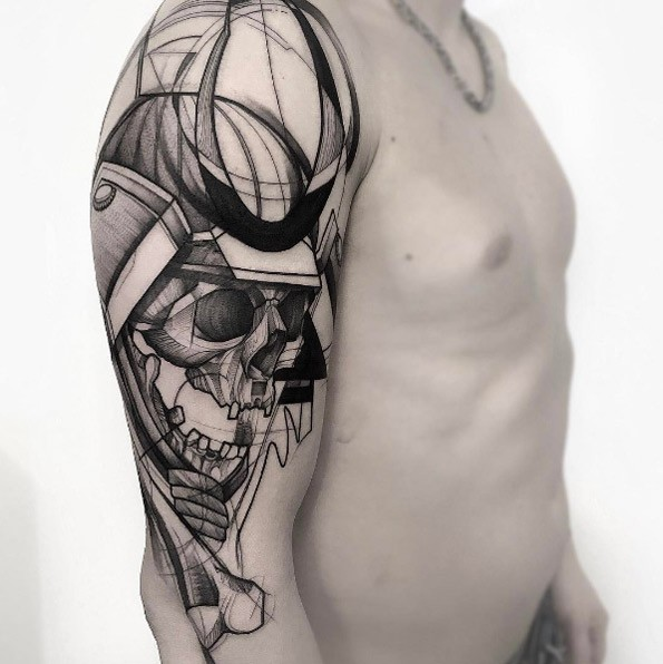 Sketch style black ink upper arm tattoo of samurais skull with helmet