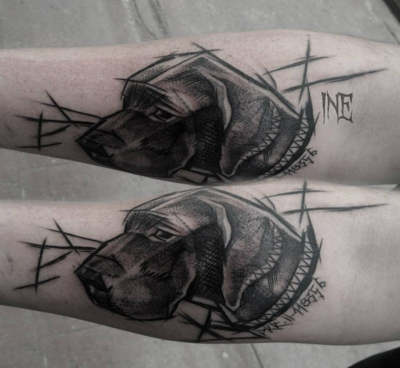Sketch style by Inez Janiak tattoo of cute dog with lettering