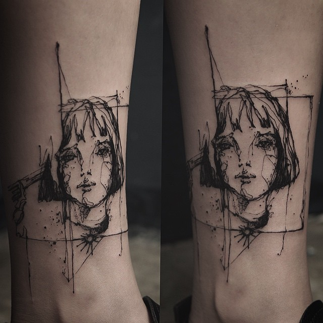 Sketch style colored ankle tattoo of woman face