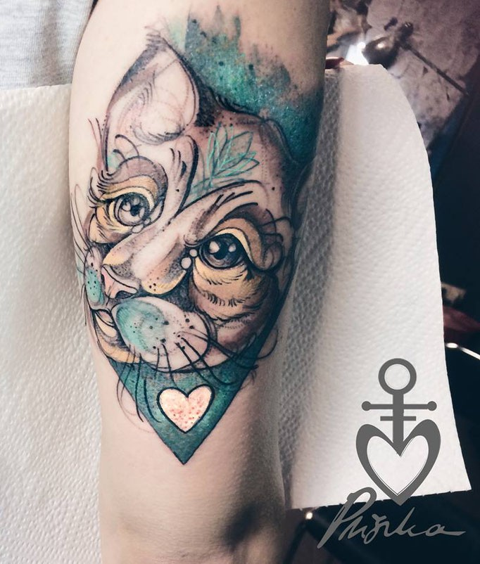 Sketch style colored arm tattoo of beautiful cat with heart