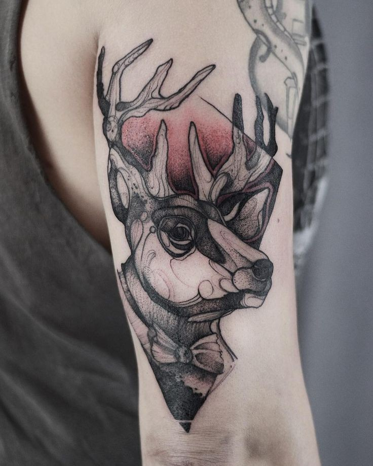 Sketch style colored arm tattoo of deer with geometrical figure by Joanna Swirska