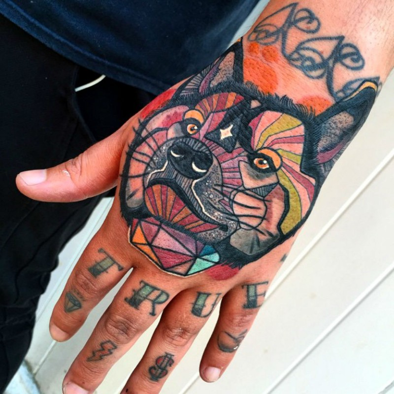 Sketch style colored hand tattoo of fantasy wolf