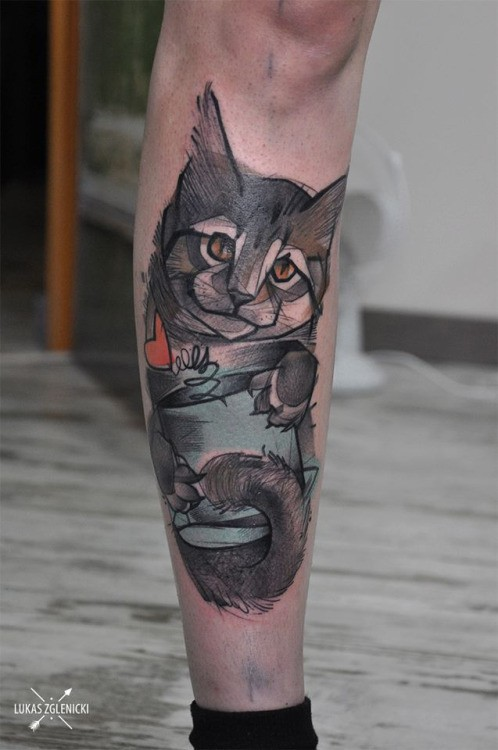Sketch style colored leg tattoo of cute cat with red heart