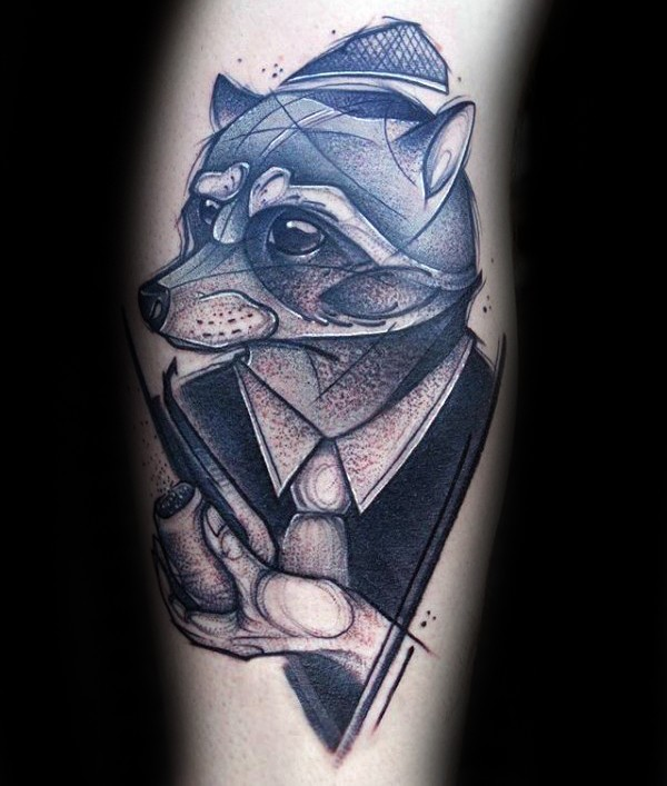Sketch style colored leg tattoo of raccoon gentleman with smoking pipe