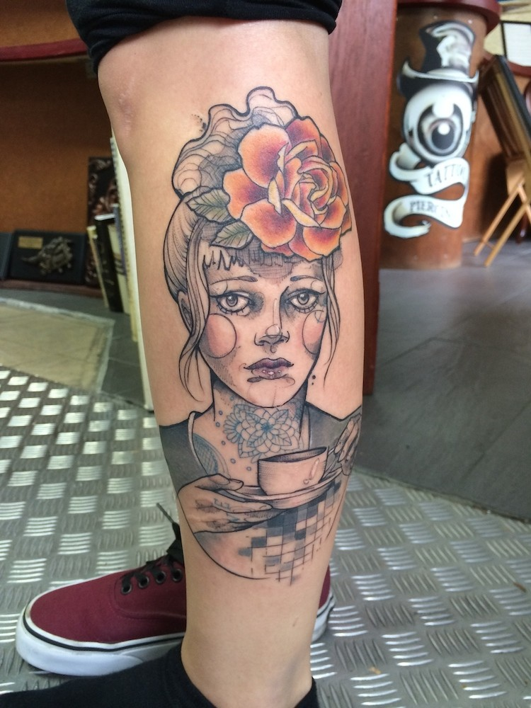 Sketch style colored leg tattoo of woman face with flowers and tea cup
